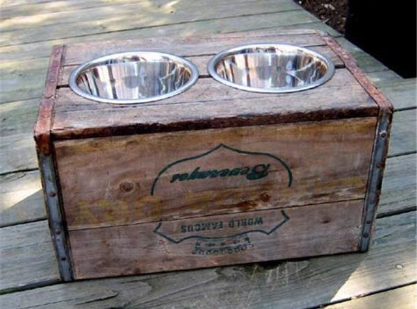 DIY vintage crate elevated dog feeder
