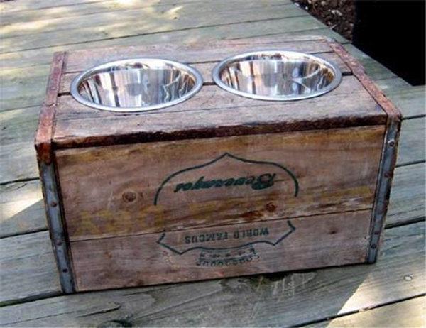 DIY vintage crate elevated dog feeder