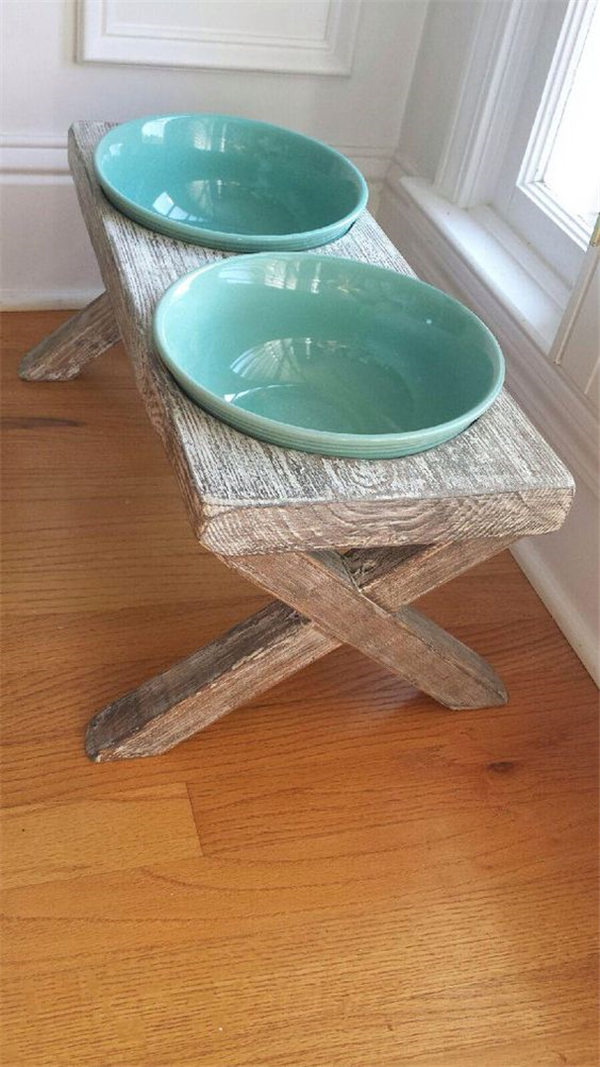 Raised Dog Bowl Feeder Distressed Reclaimed