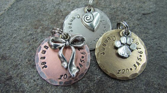 Dog Tag With Bow Ribbon Heart Or Paw Print Charm In Nickel