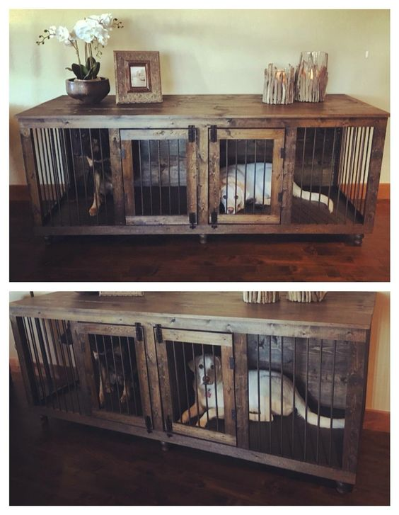 The First Beautiful Decorative Indoor Wooden Dog Kennel Built For Two Dogs  Its More Than A Wooden Dog Crate But Truly Inspiring Dog Crate Furniture